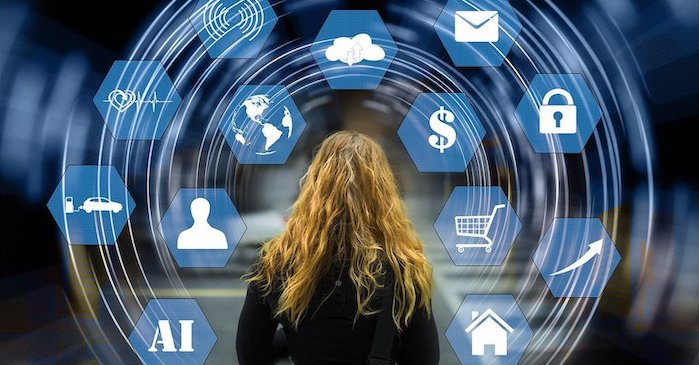 Woman with data icons